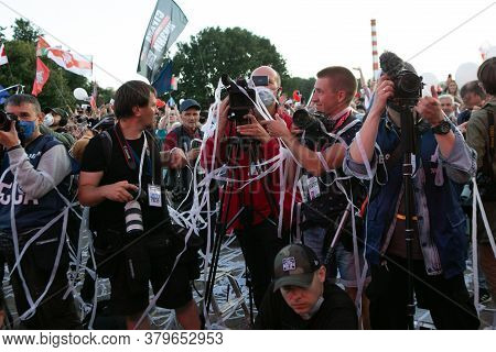Minsk, Belarus - July 30, 2020: Group Of Photographers Works At The Event