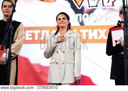Minsk, Belarus - July 30, 2020: Svetlana Tikhanovskaya, Opposition Candidate For Presidential Electi
