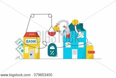 Vector Flat Abstract Illustration With Young Family Paying Their Mortgage. They Are Metaphorically L