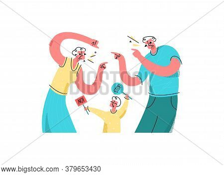 Vector Flat Swearing Parents Who Accuse Each Other Of Something. Crying Child Tries To Stop Them, To
