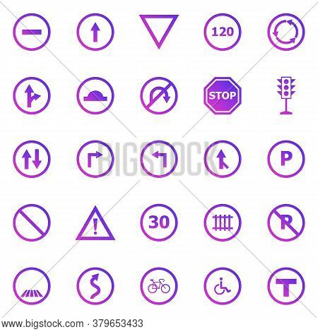 Road Sign Gradient Icons On White Background, Stock Vector