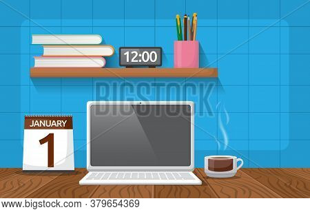 Laptop Cup Of Coffee On Workbench Office Work Table Illustration