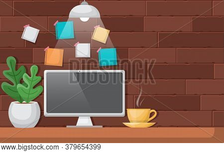 Computer Cup Of Coffee On Workbench Office Work Table Illustration