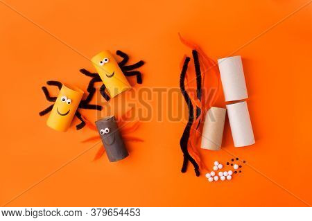 Child Creates Decorations For Halloween Party From Toilet Roll. Easy Eco-friendly Diy Master Class,