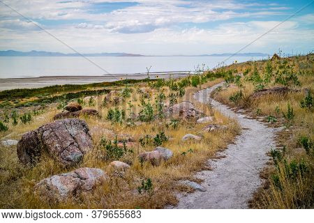 A Gorgeous View Of The Landscape In Antelope Island State Park, Utah