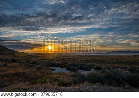 Dramatic Vibrant Sunset Scenery In Antelope Island State Park, Utah