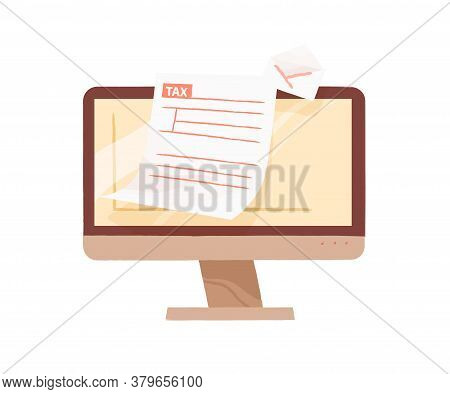 Monitor Of Computer Demonstrate Open Email With Tax Form Blank Vector Flat Illustration. Online Pers