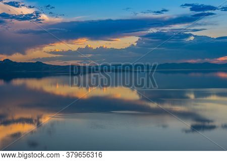 An Overlooking Landscape View Of Antelope Island State Park, Utah