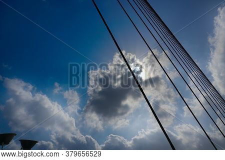 Sun Rays Passing Through Clouds In Blue Sky Over 2nd Hoogly Bridge, Kolkata, West Bengal, India.