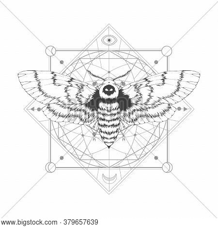 Vector Illustration With Hand Drawn Dead Head Moth And Sacred Geometric Symbol On White Background.