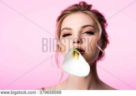Beautiful Blonde Woman Holding Calla Flower In Mouth Isolated On Pink