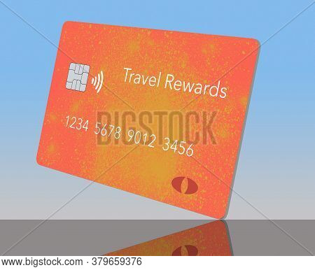 Here Is Generic Orange And Yellow Travel Rewards Credit Card.