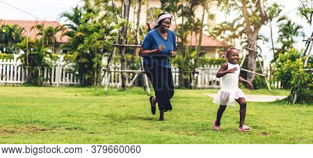 Portrait Of Enjoy Happy Love Black Family African American Mother And Little African Girl Child Smil