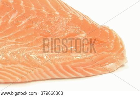 Salmon Steak Containing Healthy Omega Acids. White Background