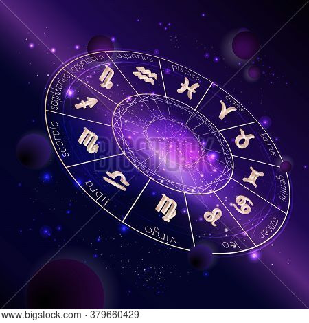 Vector Illustration Of Horoscope Circle With Zodiac Signs Against The Space Background With Planets,