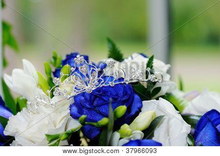 Brides Tiara And Flowers