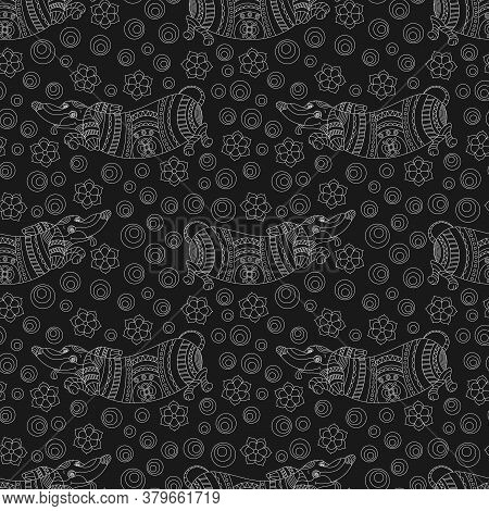 Seamless Pattern With  Dogs Dachshund And Flowers In Stained Glass Style ,light Contours On A Dark B