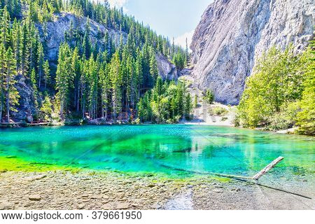 Emerald-colored Grassi Lakes In Canmore Kananaskis, A Popular Hiking Spot In The Canadian Rockies Of