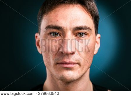 Close Up Studio Headshot Portrait Of Young Caucasian Man Stand Look At Camera Posing, Feel Positive