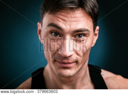 Close Up Studio Headshot Portrait Of Young Smiling Caucasian Man Stand Look At Camera Posing, Feel P