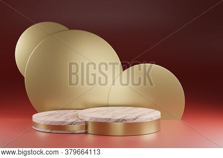 3d Render, Art Decoration Round Gold Background, Marble Texture Cylinder Pedestal, Podium, Showcase