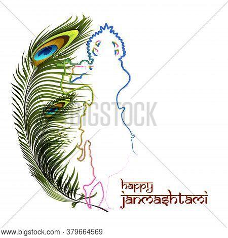 Vector Illustration Of Happy Janmashtami. Lord Krishna