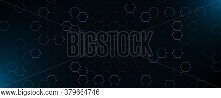 Futuristic Blue Neon Honeycombs. Abstract Horizontal Background. Modern Technology Design. Vector Il