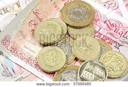 Pound Coins On Monety Background