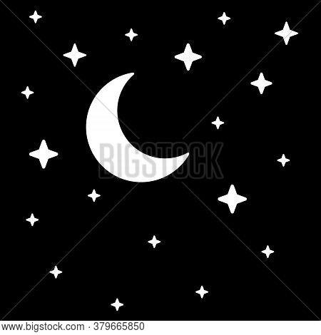 Night Sky.  Symbols Of Night.  Vector Illustration. White Elements On Black Background