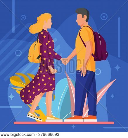 Man And Woman On Abstract Background. Spend Time Together. Young Heterosexual Couple In Love. Romanc