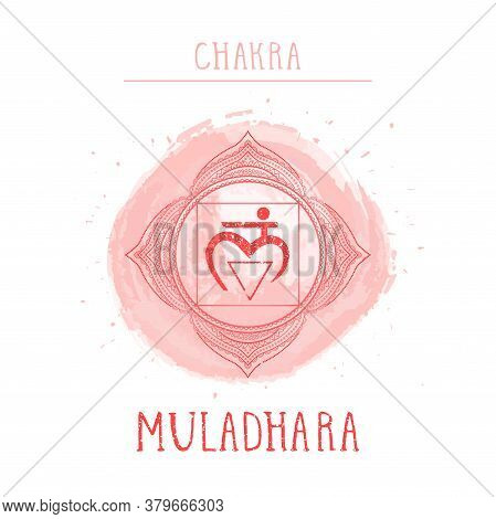 Vector Illustration With Symbol Chakra Muladhara And Watercolor Element On White Background. Circle