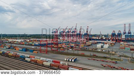 Hamburg, Germany - August 01, 2020: Aerial View Of The Container Terminal Eurogate Burchardkai In Ha