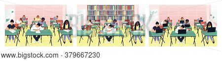 Set With Students Studying In The Classroom. Teens Read Book In The Library. Students Work On Comput