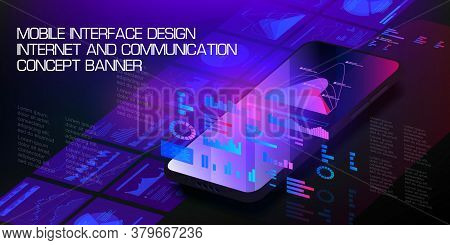 Mobile Phone In Axonometric Projection With Pop-up Holographic Interfaces, Screens. Landing Page Tem
