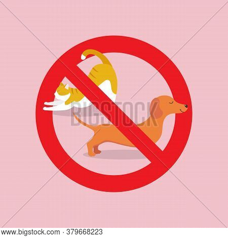 No Pets Allowed Sign. Red Prohibition Sign. Vector Illustration.