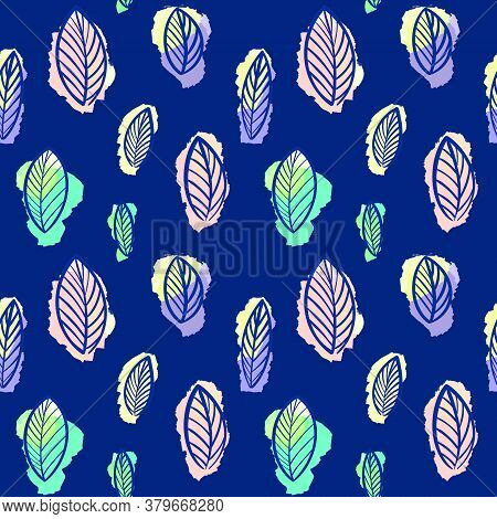Seamless Botanical Leaf Pattern On A Blue Background.beautiful Botanical Illustration. Design For Te