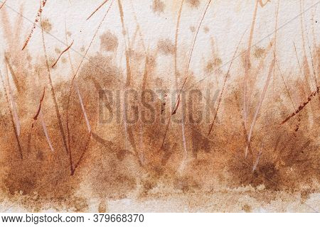 Abstract Art Background Brown And White Colors. Watercolor Painting On Canvas With Soft Beige Gradie