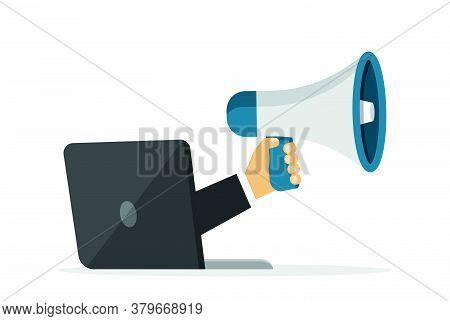 Loudspeaker In Hand. Megaphone In Cartoon Style. Vector Illustration