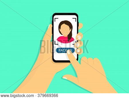 Face Recognition. Scanning Face. Hand Holds A Phone With Face Id. Cartoon Style.