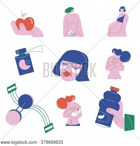 Set Of Objects For Providing Womans Health And Bodycare