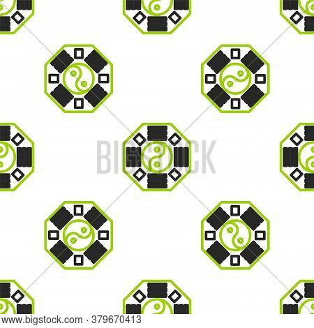 Line Yin Yang Symbol Of Harmony And Balance Icon Isolated Seamless Pattern On White Background. Vect