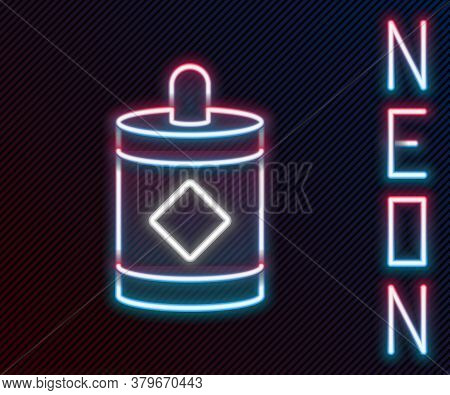 Glowing Neon Line Firework Icon Isolated On Black Background. Concept Of Fun Party. Explosive Pyrote
