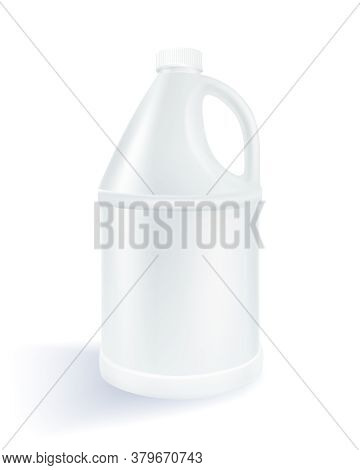 White Cylindrical Plastic Gallon On A White Background Used For Milk Product, Alcohol,  Beverage, Oi