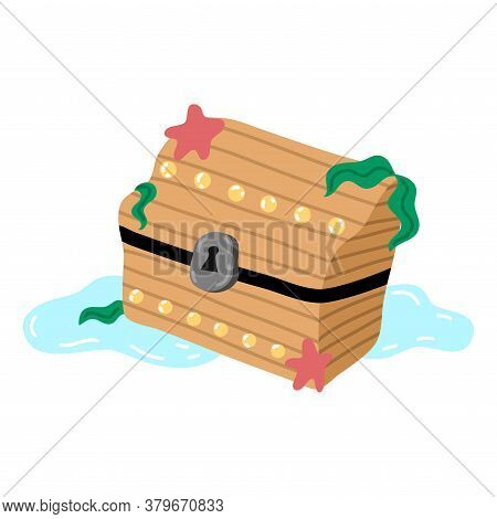 Pirates Wooden Treasure Chest On Sea Bottom Vector Illustration