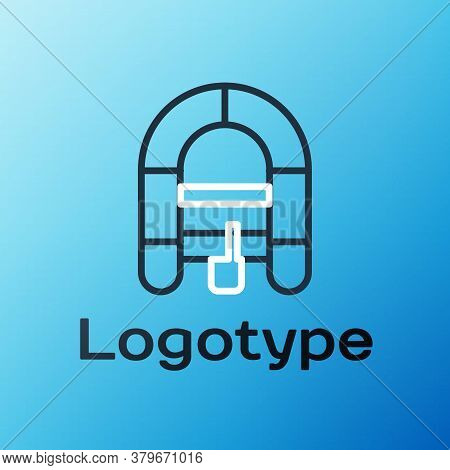 Line Rafting Boat Icon Isolated On Blue Background. Inflatable Boat. Water Sports, Extreme Sports, H