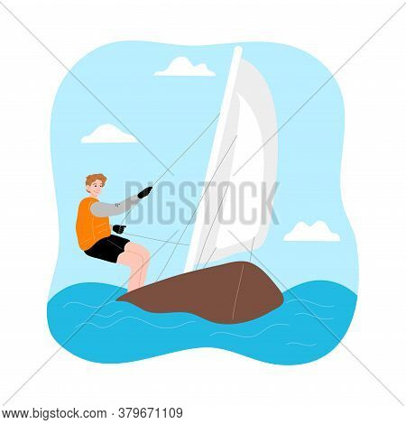 Young Man Riding Sailboat With Wind And Enjoying Trip Under White Sail