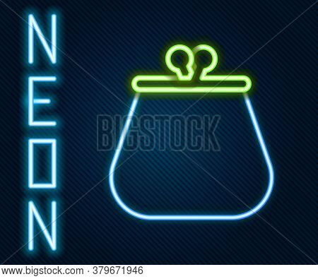 Glowing Neon Line Wallet Icon Isolated On Black Background. Purse Icon. Cash Savings Symbol. Colorfu