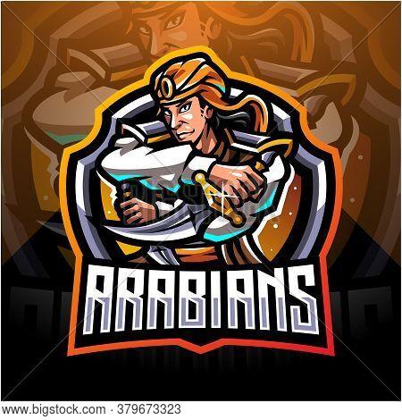 Arabians Esport Mascot Logo Design With Text