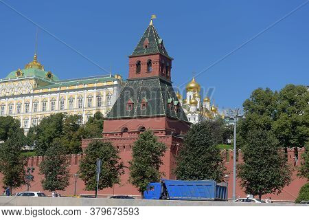 Kremlin Wall, View From The Moscow River