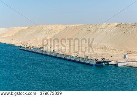 Ismailia, Egypt - November 14, 2019: A Long Pontoon Bridge Of The Port Said - Suez Canal Rd On The B